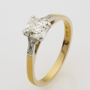 Ladies handmade 18ct yellow gold and platinum, square emerald, trapezoid and baguette diamonds, engagement ring