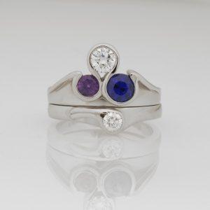 Ladies handmade palladium diamond ring