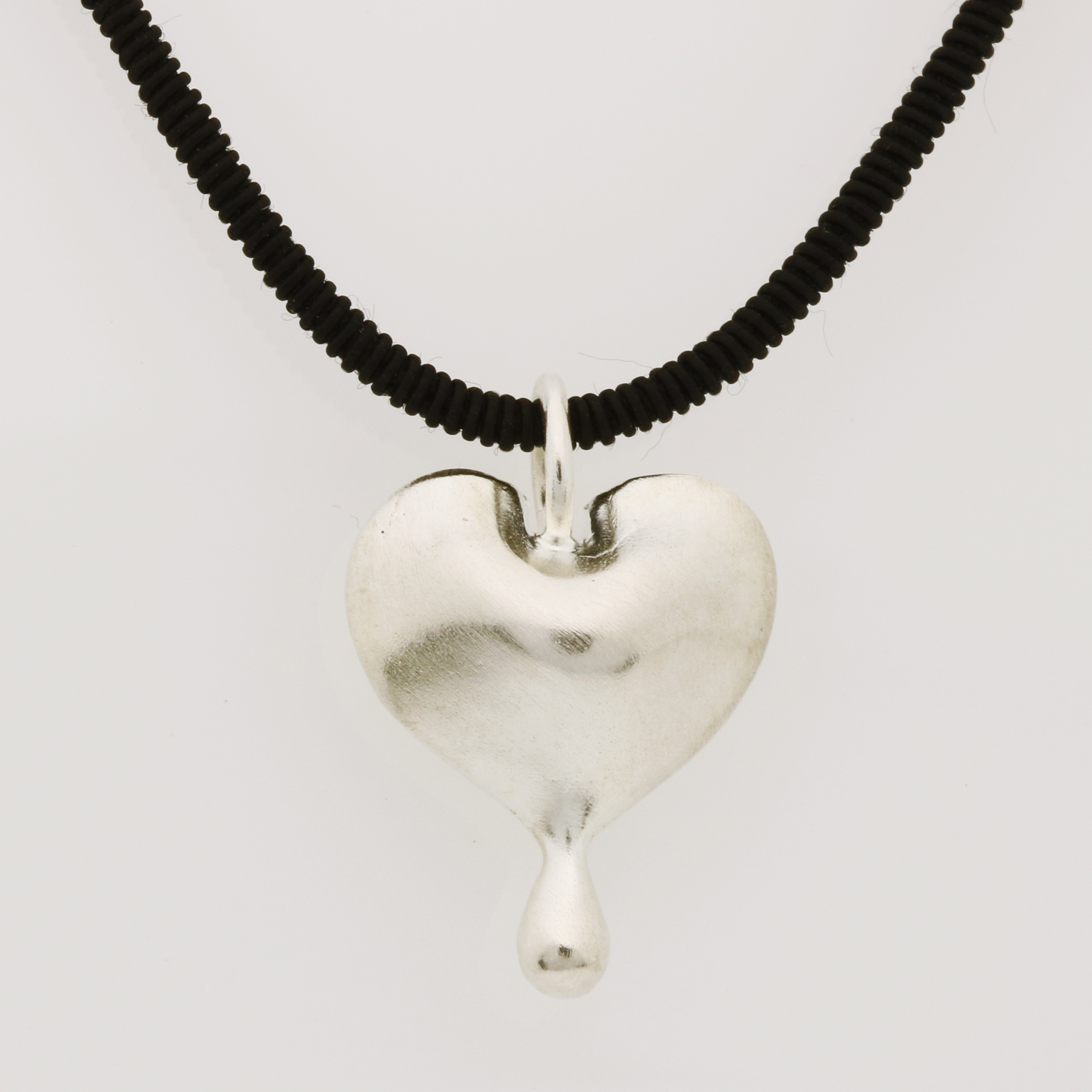 P095 Sterling silver bleeding heart $155 with CH142 2mm Black ribbon with sterling silver clasp 42cm $50