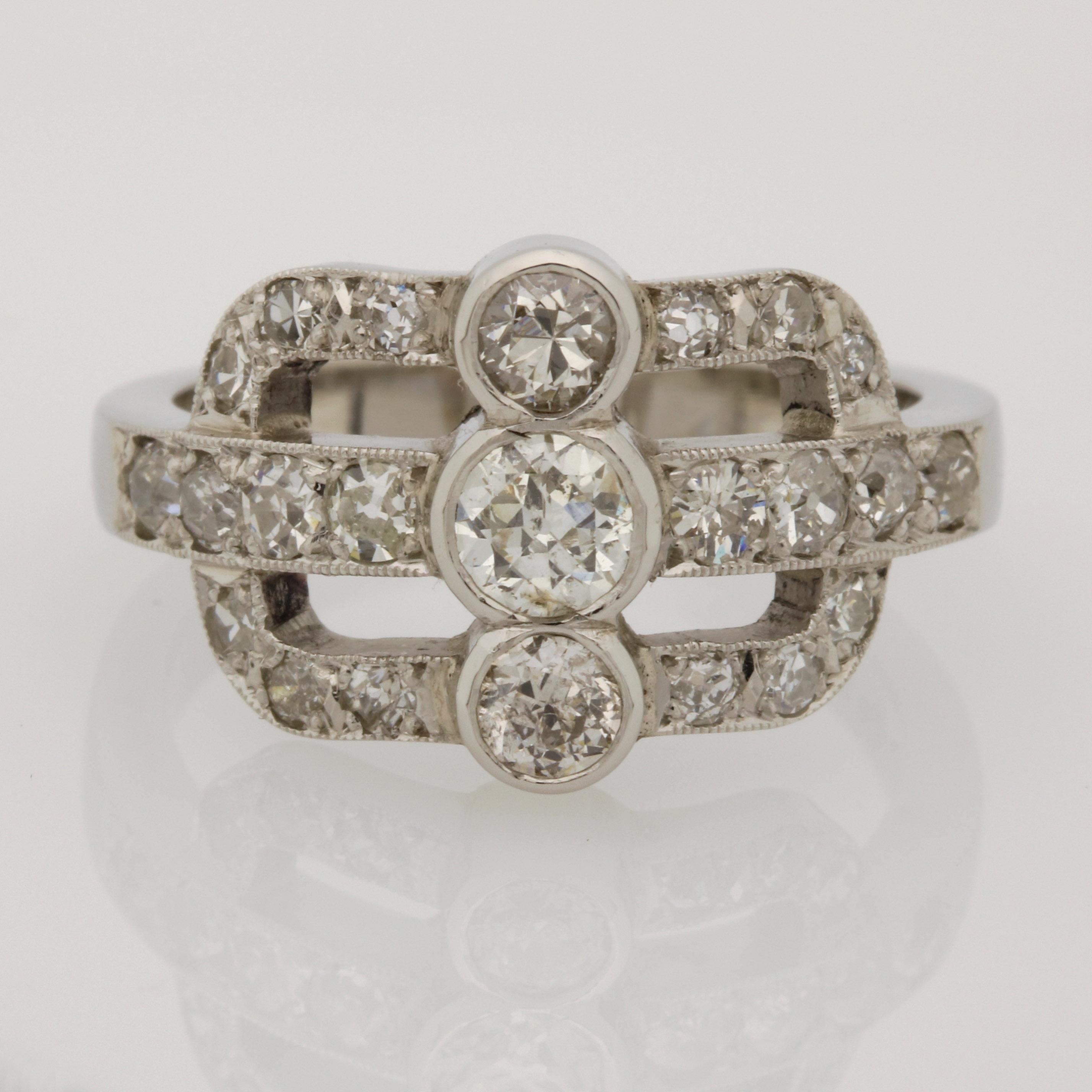 Ladies handmade palladium and diamond ring