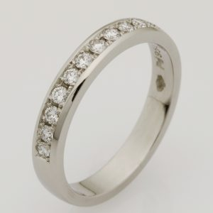 Ladies handmade palladium diamond set wedding ring