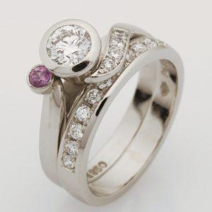 Ladies handmade palladium diamond set wedding ring