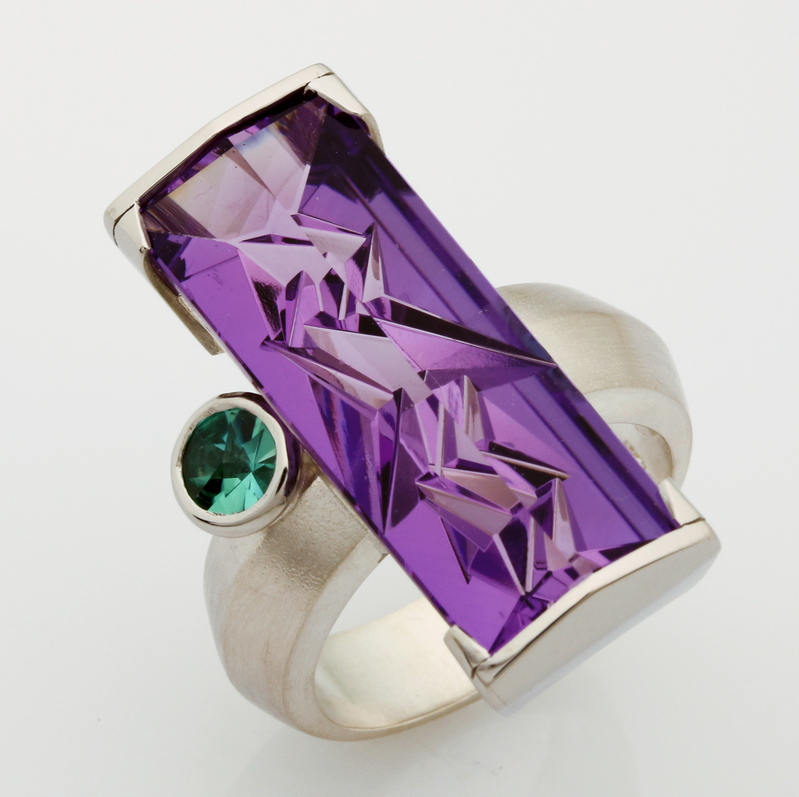 Ladies handmade palladium and sterling silver amethyst and tourmaline ring