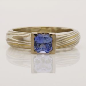 Ladies handmade 18ct yellow and white gold, 9ct white gold and sterling silver Ceylon sapphire ring