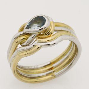 Ladies handmade 18ct yellow gold and palladium wedding ring