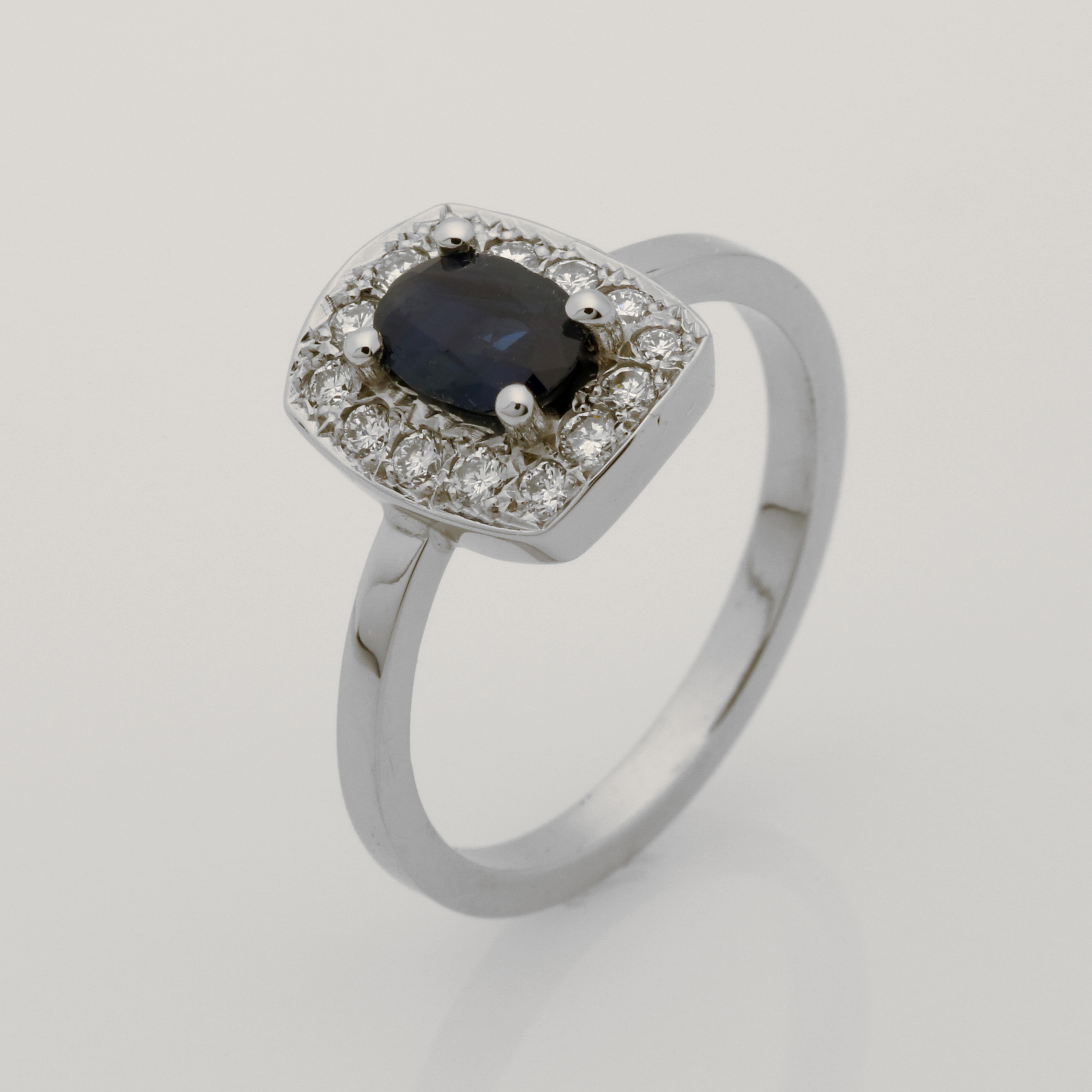 Ladies handmade palladium, sapphire and diamond ring