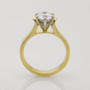 Ladies handmade 18ct yellow gold and platinum brilliant cut diamond engagement ring