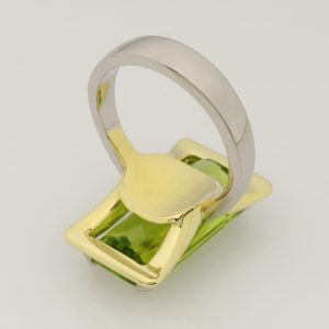Ladies handmade 18ct green gold and platinum peridot ring