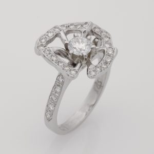Ladies handmade palladium and platinum diamond set flower ring