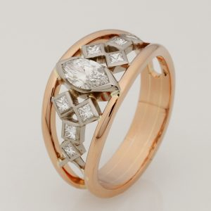 18ct Rose & White Gold Marquise & Princess Diamond Ring