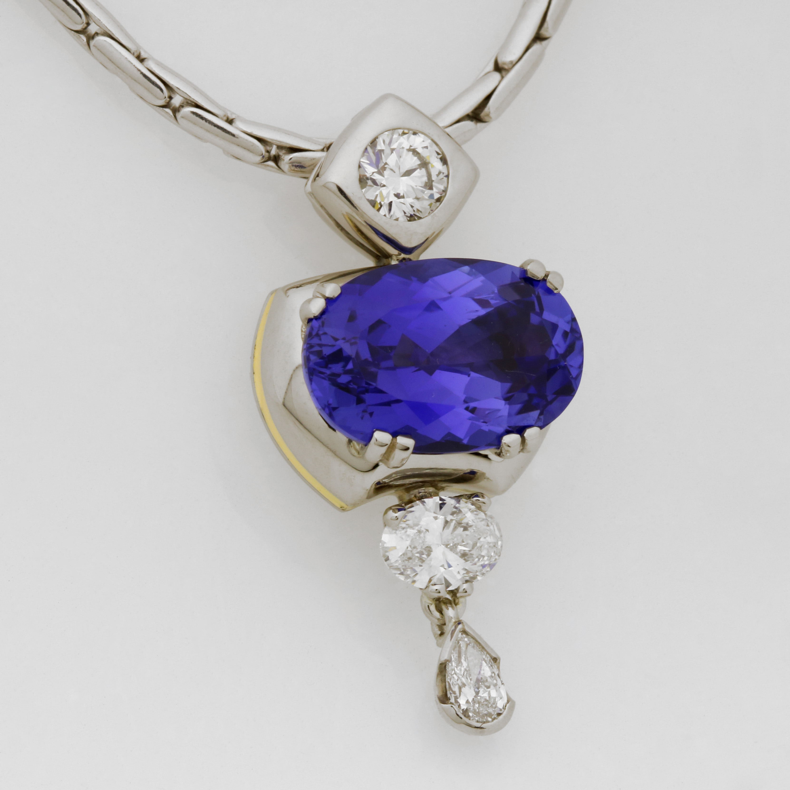 Handmade Palladium & 18ct Yellow Gold Tanzanite & Diamond Pendant