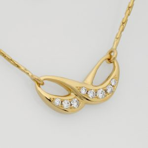 Handmade 18ct Yellow Gold & Diamond Infinity Pendant