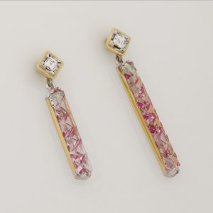 Handmade Ladies 18ct Yellow Gold & Palladium Bi-coloured Tourmaline & Tycoon Diamond Earrings