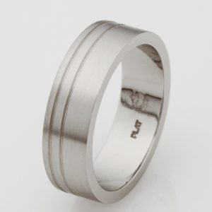 Handmade Mens Platinum Parallel Groove Wedding Ring