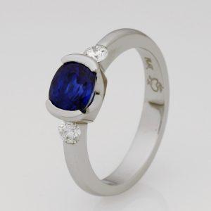 Handmade Platinum, Diamond & Ceylon Sapphire Ring