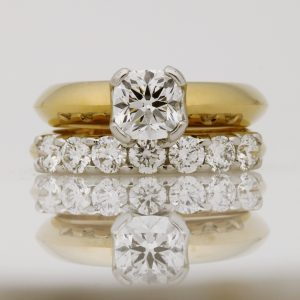 18ct Yellow Gold & Platinum Diamond Wedding Ring