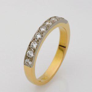 18ct Yellow & White Gold Diamond Wedding Ring