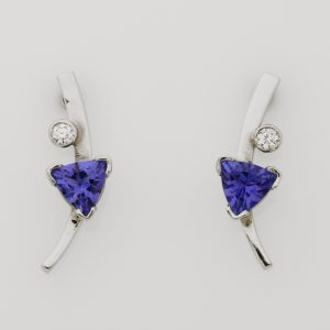 14ct White Gold Tanzanite & Diamond Earrings