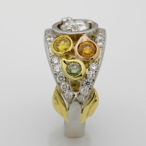 Platinum and 18ct Yellow, Rose & Green Gold Natural Coloured Diamond Ring