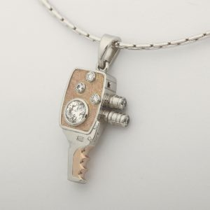 Platinum and 18ct Rose Gold Movie Camera Pendant