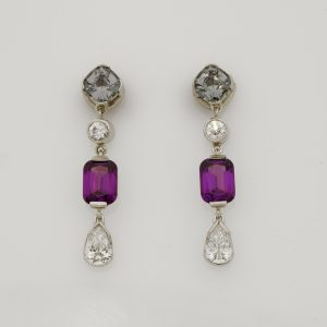 Handmade ladies platinum, palladium and 18ct green gold Grey Spinel, Purple Garnet and diamond earrings